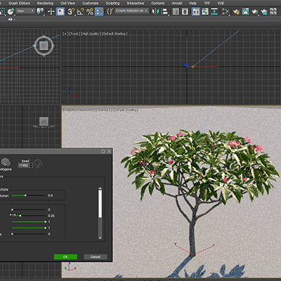 PlantFactory 3D vegetation model natively loaded in 3ds Max and rendered with VRay