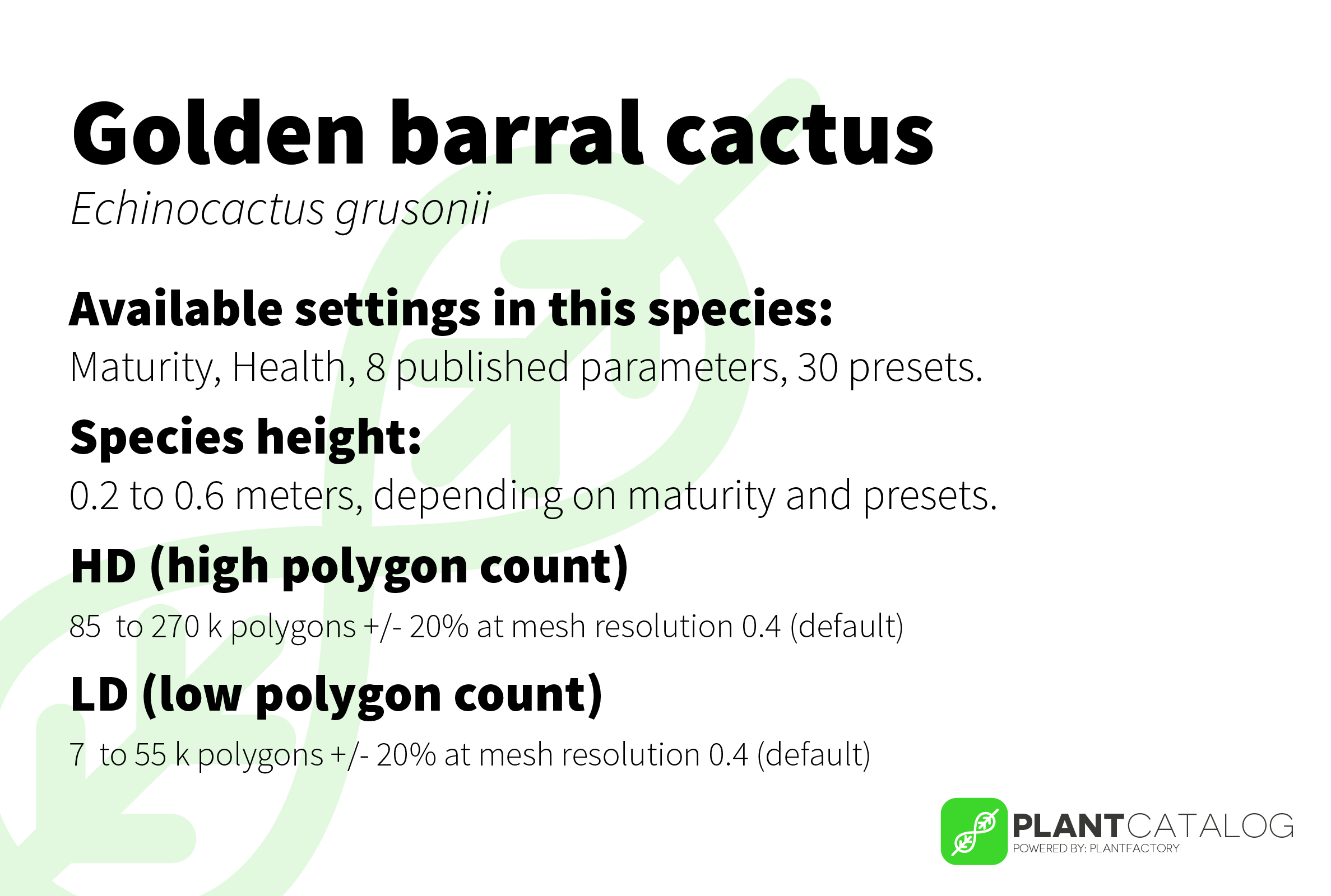 Golden barral cactus - Echinocactus grusonii - 3D model specifications