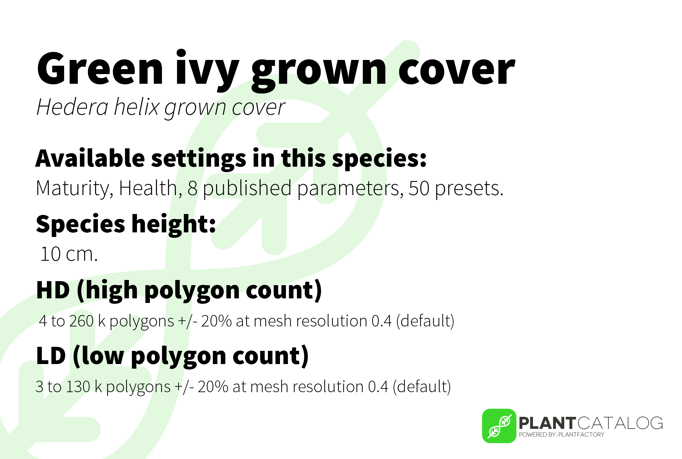 Green ivy ground cover - Hedera helix ground cover green - 3D model specifications